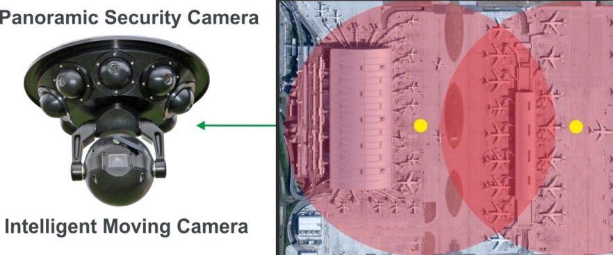 Пример установки панорамной камеры видеонаблюдения в аэропорту. Источник фото: www.viseum.co.uk